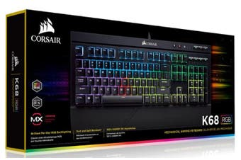 CORSAIR K68 RGB Mechanical Gaming Keyboard, Backlit RGB LED, Cherry MX Red, IP32 Dust and Spill Resistant.