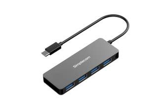 SIMPLECOM CH320 Ultra Slim Aluminium USB 3.1 Type C to 4 Port USB 3.0 Hub - Black - USMB-MB-UCH-40