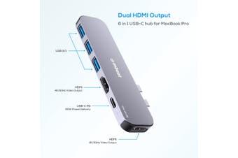 MBEAT Elite Mini 6-In-1 Dual HDMI USB-C Hub for MacBook Pro