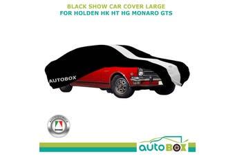 Black w/ White Stripe Show Car Cover fits Holden HK HT HG Monaro GTS Softline, L
