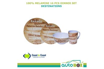 Caravan Camping 100% Melamine 16 piece Dinner Set Destinations by Coast RV