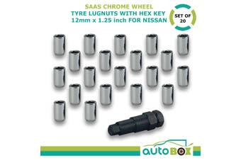 Chrome Wheel Tyre Lug Nuts with Hex Key Set of 20 12mm x 1.25 Lock for Nissan