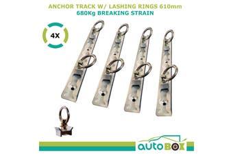 Aluminium Alloy Anchor Track 610mm x 4 Tie Down 680kg Breaking Strain Trailer