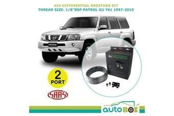 SAAS 2 PORT 4WD DIFF BREATHER KIT suit NISSAN PATROL GU Y61 1997-2015 All Models