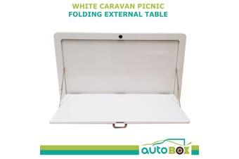 Caravan RV White Picnic Folding External Table 800 x 450mm Camper Camping Out