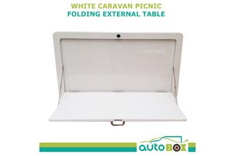 White Caravan Side Picnic Folding External Table Superior Quality 800 x 450mm