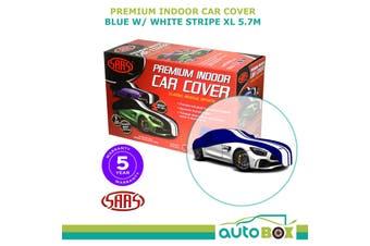 SAAS Premium Indoor Classic Car Cover Extra Large 5.7M Blue with White Stripe