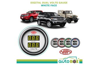 SAAS Dual Volts Gauge White Face 4 Colours Dual Battery 4WD White Face