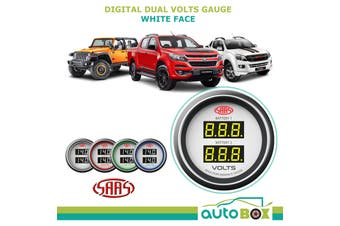 SAAS Dual Volts Gauge White Face 4 Colours Dual Battery 4WD D-Max Colorado Jeep