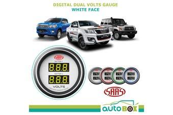 SAAS Digital Dual Volts Gauge White Face Dual Battery suits Landcruiser Hilux
