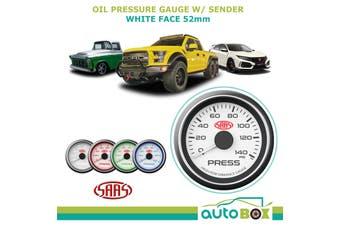 SAAS OIL PRESSURE 0-140PSI 52MM GAUGE WHITE FACE including sender 4 Colour