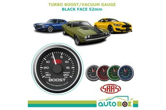 SAAS 30 In-Hg to 20 psi TURBO BOOST GAUGE Black Dial Face 52mm Multiple Colour