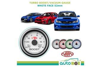 30 In-Hg to 20 psi TURBO BOOST GAUGE White Face Mitsubishi EVO Subaru WRX STI