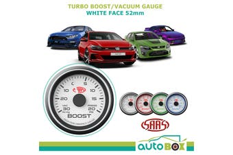 SAAS White Dial Face 30 In-Hg to 20 psi Turbo Boost Gauge FPV S15 XR6T GTI 52mm
