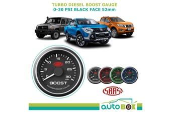 SAAS 0-30 psi Diesel Turbo Boost 52mm Gauge Black Face Muscle Series