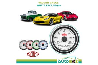 SAAS 30 In-Hg Vacuum Gauge White Dial Face 52mm Muscle Series 4 Colour Backlight