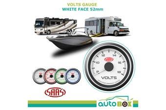 SAAS 8-18 Volts Gauge White Face Voltmeter Volt Boat Motorhome RV 12V 52mm