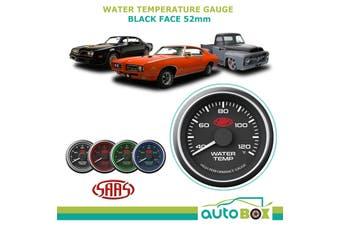 SAAS 40-120 Degrees Water Temperature Temp Gauge Black Dial Face 52mm