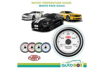 SAAS 40-120 Degrees Water Temperature Temp Gauge White Dial Face 52mm
