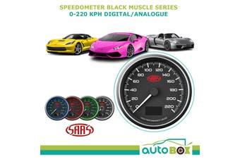 """SAAS Speedometer 0-220 kph 3 1/2"""" 90mm In Dash Tripmeter Black Muscle Series"""