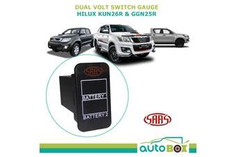 SAAS Dual Battery Volts Switch Gauge Digital Gauge Toyota Hilux KUN26R GGN25R