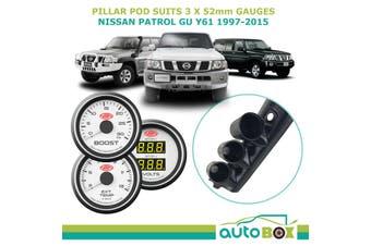 3 Gauge Pillar Pod for Nissan GU Patrol 97-15 Boost Ext Dual Volt Gauge White