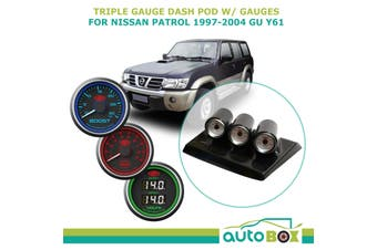 Triple Gauge Dash Pod Holder w/ Boost Ex Temp Dual Volts for Patrol GU Y61 97-04