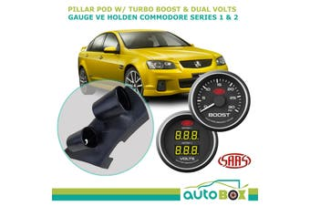 VE Commodore Ser 1 & 2 Pillar Pod w/ Black Face Turbo Boost & Dual Volts Gauge