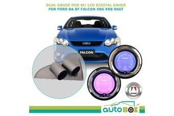 Ford BA BF XR6 XR8 XR6T Dual Gauge Pod w/ LCD Digital Oil Press & Volts Gauge