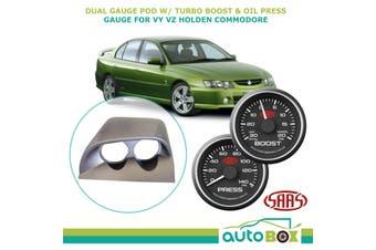 Dual Gauge Pod w/ Black Turbo Boost & Oil Pressure Gauge VY VZ Holden Commodore