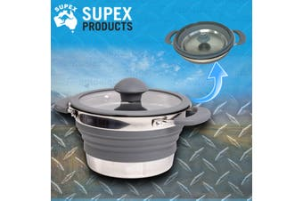 Supex 1.5L Grey Silicone Collapsible Pot