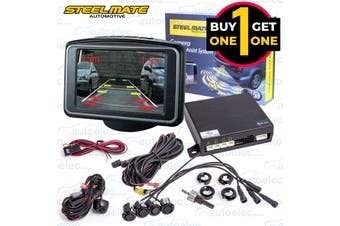 "Black Friday Steelmate Car Rear View Reversing Camera & 3"" LCD Screen 2 For 1"