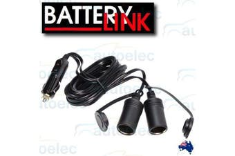 Battery Link 12V Dual Cigarette Plug Extension Lead
