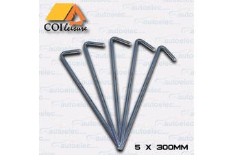 5x 300mm x 8mm Galvenised Mild Steel Tent Pegs
