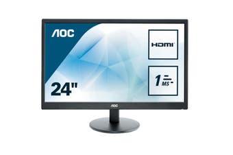 "AOC E2470SWH 24"" Computer Gaming Monitor TN 1ms FHD (1920x1080) 16:9 HDMI DVI"