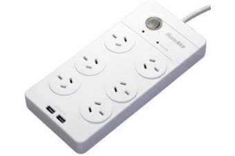 Huntkey Power Board (SAC604) With 6 SOCKETS AND 2 USB PortS Dual 5V 2.1A