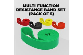 Resistance Band Set Workout Home Gym Yoga Body Strength Exercises Bands (A Set of 5 pcs)