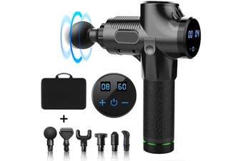 Massage Gun 17V Electric Cordless Deep Percussion Massager LCD 6 Head 30 Gear Black