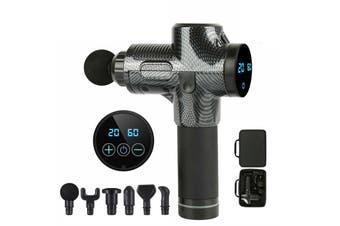 Massage Gun 24V Electric Cordless Percussion Massager 6 Head 30 Gear Carbon Fibre