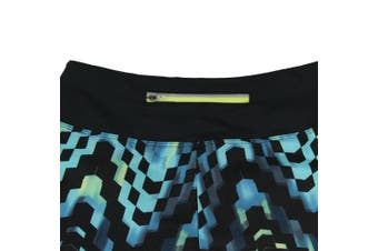 Asics NEW Blue Black Women's Size XS Everysport Geometric Athletic Shorts