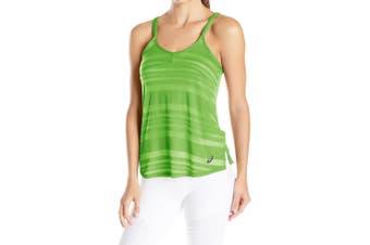 Asics NEW Green Lime Women's Size Large L Striped Burnout Slub Tank Top