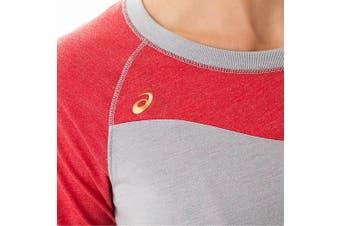 Asics NEW Gray Red Women's Size Small S Raglan Colorblock Tee Top