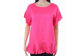 Context NEW Blushed Petal Pink Womens Size XL Ruffle-Hem Knit Top