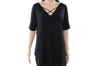 Context NEW Solid Black Women's Size Medium M Criss-Cross Blouse