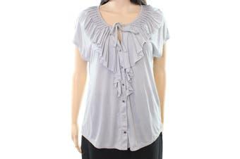 C&C California NEW Gray Women's Size Medium M Button Down Ruffle Top