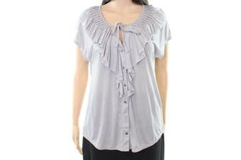C&C California NEW Gray Women's Size Large L Button Down Ruffle Top