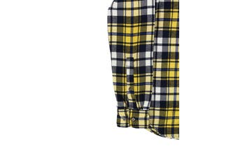 American Apparel NEW Yellow Mens Size Small S Button Down Plaid Shirt