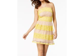 Foxiedox NEW Yellow Beige Lace Halter Fit Flare Large L A-Line Dress