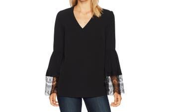 Nine West NEW Black Women's Size Large L V-Neck Lace Sleeve Blouse