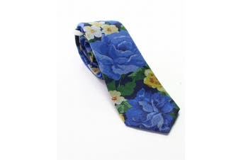 BAR III NEW Blue Faded Floral Printed Men's Skinny Knit Woven Necktie